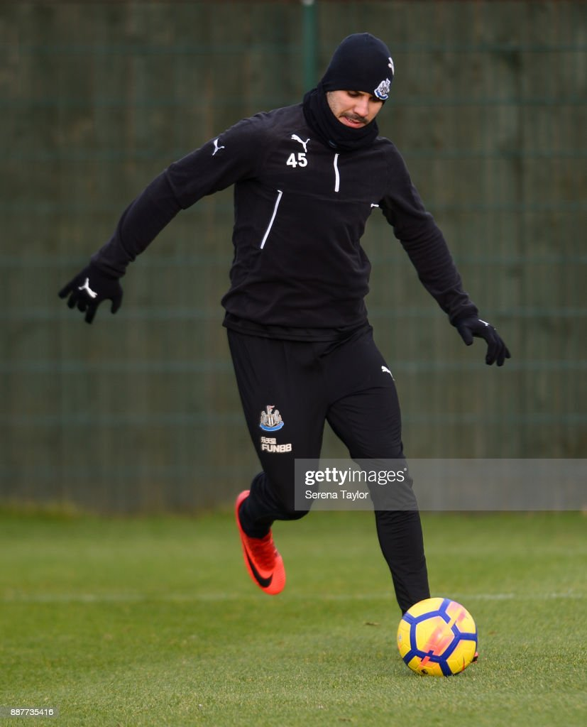 Aleksandar Mitrovic passes the ball during a Newcastle United training session at the Newcastle United Training Centre on December 7, 2017, in Newcastle upon Tyne, England.