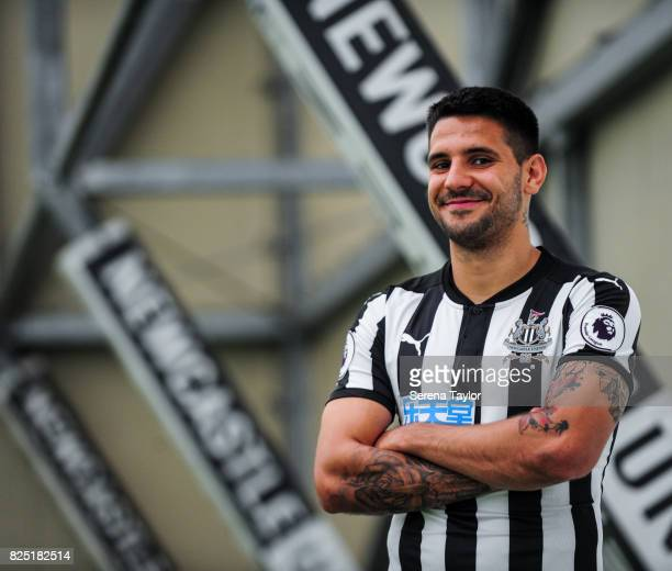 Aleksandar Mitrovic poses during the Newcastle United Media Photo Call Day at the Newcastle United Training ground on July 31 in Newcastle upon Tyne...