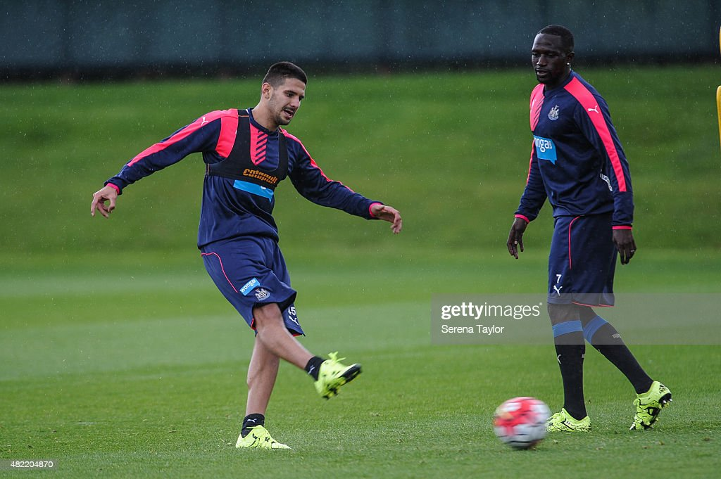 Aleksandar Mitrovic strikes the ball during his first training session during the Newcastle United Pre-Season Training session at The Newcastle United Training Centre on July 28, 2015, in Newcastle upon Tyne, England.