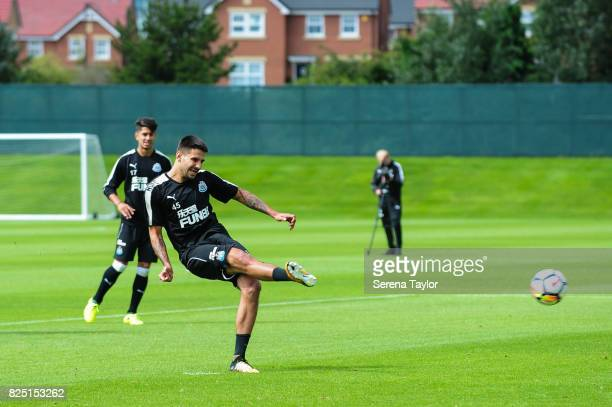 Aleksandar Mitrovic strikes the ball during the Newcastle United Training session at the Newcastle United Training ground on August 1 in Newcastle...