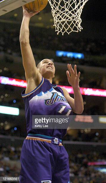 Aleksandar Pavlovic of the Utah Jazz dunks during the game between the Utah Jazz and the Los Angeles Lakers at the Staples Center in Los Angeles,...