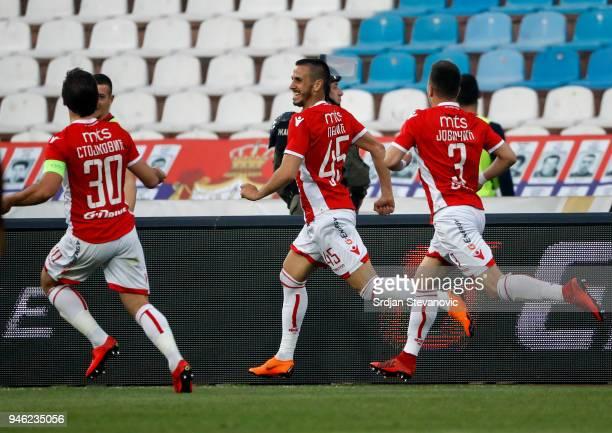 Aleksandar Pesic of Crvena Zvezda celebrates after scoring a goalduring the Serbian Super League Play Off match at the stadium Rajko Mitic on April...