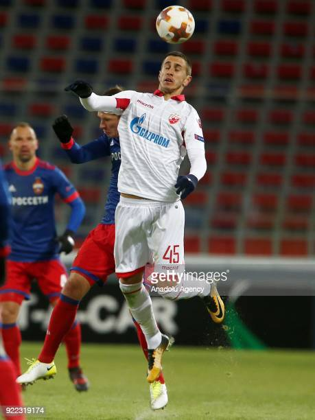 Aleksandar Pesic of Crvena Zvezda in action during the UEFA Europa League round of 32 second leg soccer match between CSKA Moscow and Crvena Zvezda...