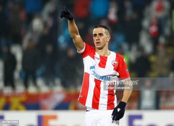 Aleksandar Pesic of Crvena Zvezda in action during UEFA Europa League Round of 32 match between Crvena Zvezda Belgrade and CSKA Moscow at the Rajko...