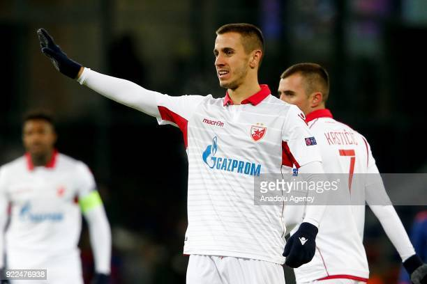 Aleksandar Pesic of Crvena Zvezda is seen during the UEFA Europa League round of 32 second leg soccer match between CSKA Moscow and Crvena Zvezda at...