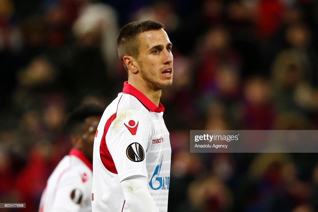 Aleksandar Pesic of Crvena Zvezda is seen during the UEFA Europa League round of 32, second leg soccer match between CSKA Moscow and Crvena Zvezda at the Stadium CSKA Moscow in Moscow, Russia on February 21, 2018.