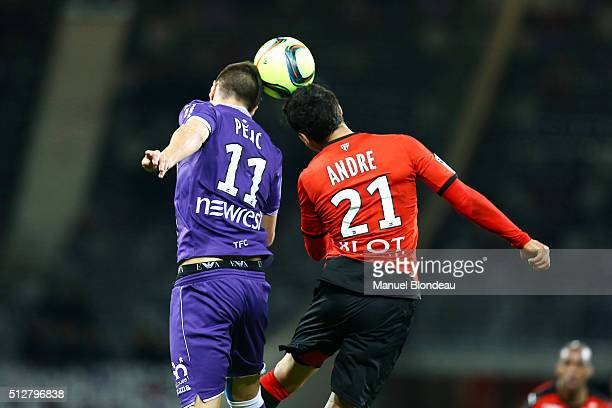 Aleksandar Pesic of Toulouse and Benjamin Andre of Rennes during the French Ligue 1 Toulouse FC v Stade Rennais at Stadium Municipal on February 27...