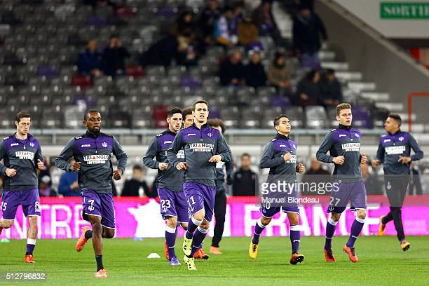 Aleksandar Pesic of Toulouse and Jean Daniel Akpa Akpro of Toulouse during the French Ligue 1 Toulouse FC v Stade Rennais at Stadium Municipal on...
