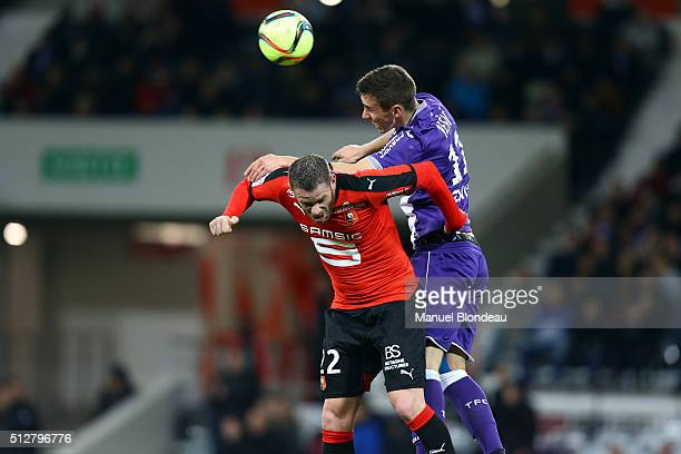 Aleksandar Pesic of Toulouse and Sylvain Armand of Rennes during the French Ligue 1 Toulouse FC v Stade Rennais at Stadium Municipal on February 27...