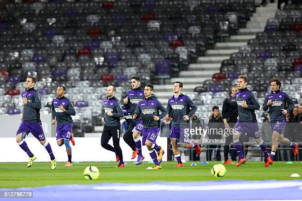 Aleksandar Pesic of Toulouse and Wissam Ben Yedder of Toulouse during the French Ligue 1 Toulouse FC v Stade Rennais at Stadium Municipal on February...