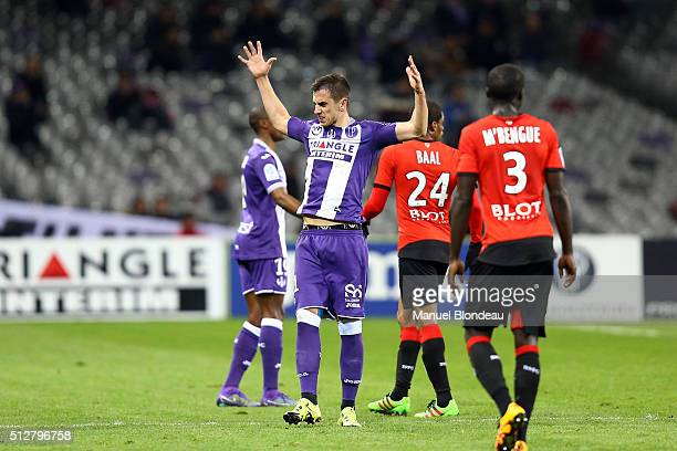 Aleksandar Pesic of Toulouse during the French Ligue 1 Toulouse FC v Stade Rennais at Stadium Municipal on February 27 2016 in Toulouse France