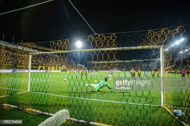 Aleksandar Prijovi scoring the first goal for PAOK during FC Aris and FC Paok game for the Superleague Greece the first category in Thessaloniki...