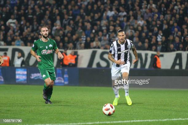 Aleksandar Prijovic and FANIS MAVROMATIS FC PAOK vs Panathinaikos FC 2 0 in Toumba stadium in Thessaloniki for the 8th round of the Greek Superleague...