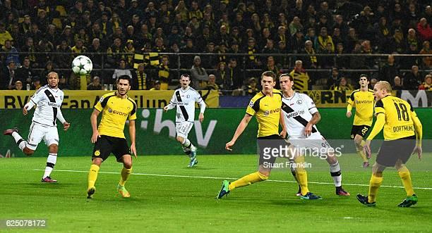 Aleksandar Prijovic of Legia Warszawa scores his teams opener during the UEFA Champions League Group F match between Borussia Dortmund and Legia...