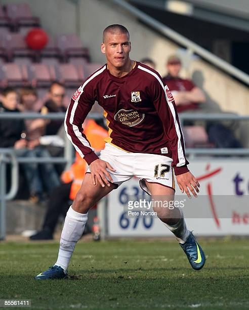 Aleksandar Prijovic of Northampton Town in action during the Coca Cola League One Match between Northampton Town and Stockport County at Sixfields...