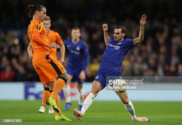Aleksandar Prijovic Of PAOK FC Is Challenged By Davide