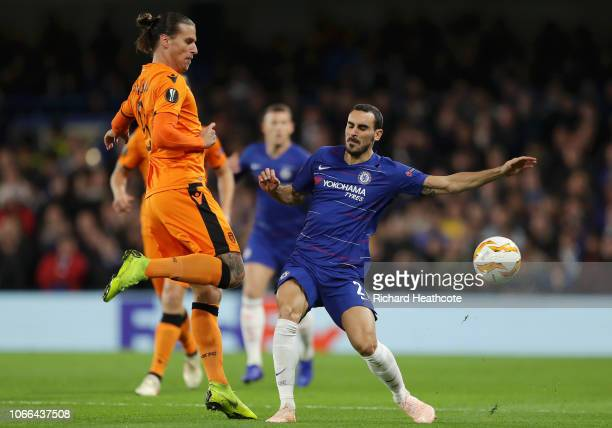 Aleksandar Prijovic of PAOK FC is challenged by Davide Zappacosta of Chelsea during the UEFA Europa League Group L match between Chelsea and PAOK at...