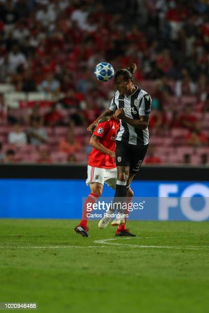 Aleksandar Prijovic of PAOK heads the ball during the match between SL Benfica and PAOK for the UEFA Champions League Play Off at Estadio da Luz on...