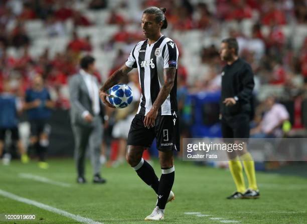 Aleksandar Prijovic of PAOK holds the ball during the UEFA Champions League Play Off match between SL Benfica and PAOK at Estadio da Luz on August 21...