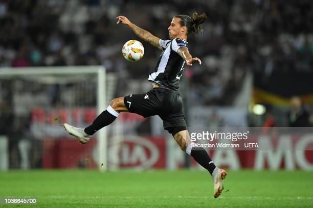 Aleksandar Prijovic of PAOK plays the ball during the UEFA Europa League Group L match between PAOK and Chelsea at Toumba Stadium on September 20...