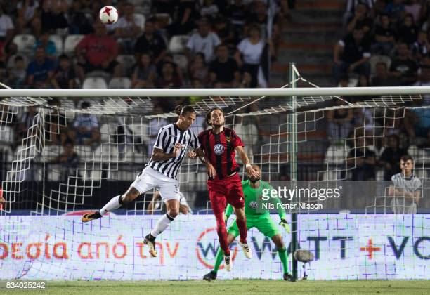 Aleksandar Prijovic of PAOK Saloniki FC and Tom Pettersson of Oestersunds FK competes for the ball during the UEFA Europa League Qualifying PlayOffs...