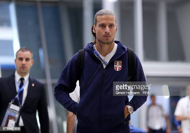 Aleksandar Prijovic of Serbia arrives at the stadium prior to the 2018 FIFA World Cup Russia group E match between Costa Rica and Serbia at Samara...