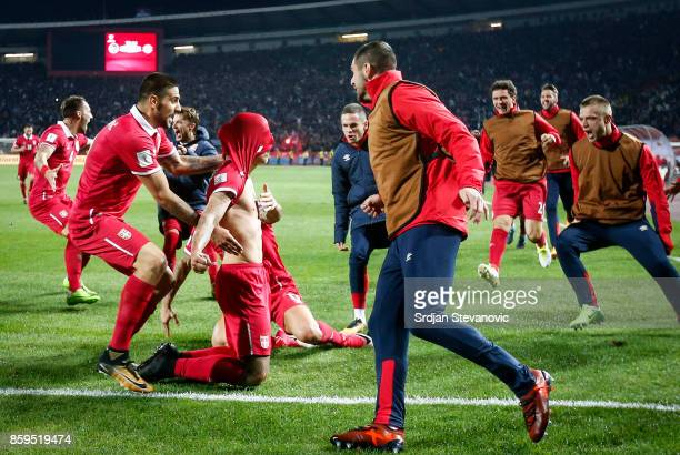 Aleksandar Prijovic of Serbia celebrate scoring the goal with the team mates during the FIFA 2018 World Cup Qualifier between Serbia and Georgia at...