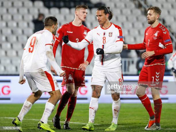 Aleksandar Prijovic of Serbia celebrates after scoring a goal with Aleksandar Mitrovic during the UEFA Nations League C group four match between...