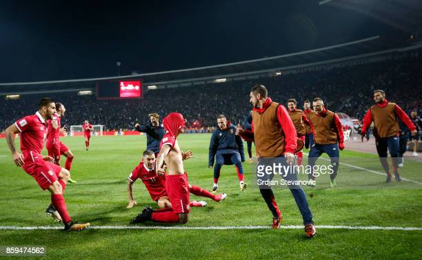 Aleksandar Prijovic of Serbia celebrates scoring a goal with the team mates during the FIFA 2018 World Cup Qualifier between Serbia and Georgia at...