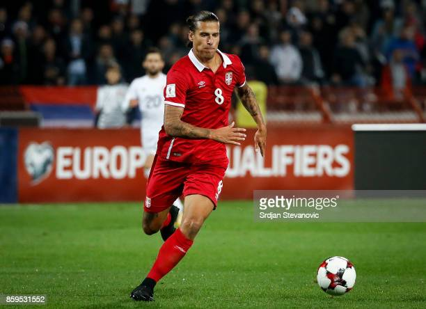 Aleksandar Prijovic of Serbia in action during the FIFA 2018 World Cup Qualifier between Serbia and Georgia at stadium Rajko Mitic on October 9 2017...