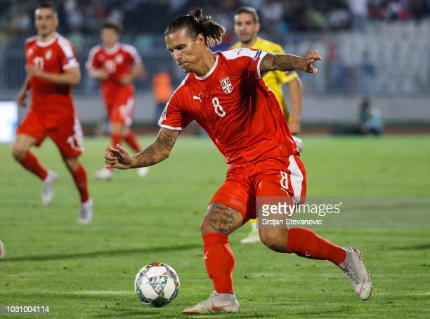 Aleksandar Prijovic of Serbia in action during the UEFA Nations League C group four match between Serbia and Romania at stadium Partizan on September...