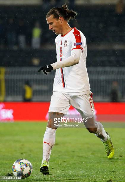 Aleksandar Prijovic of Serbia in action during the UEFA Nations League C group four match between Serbia and Lithuania at Stadium FC Partizan on...