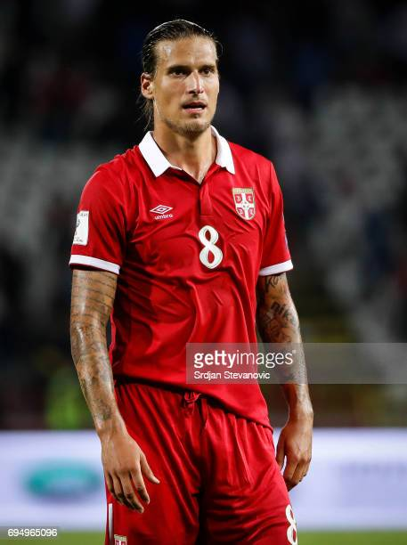 Aleksandar Prijovic of Serbia looks on after the FIFA 2018 World Cup Qualifier between Serbia and Wales at stadium Rajko Mitic on June 11 2017 in...
