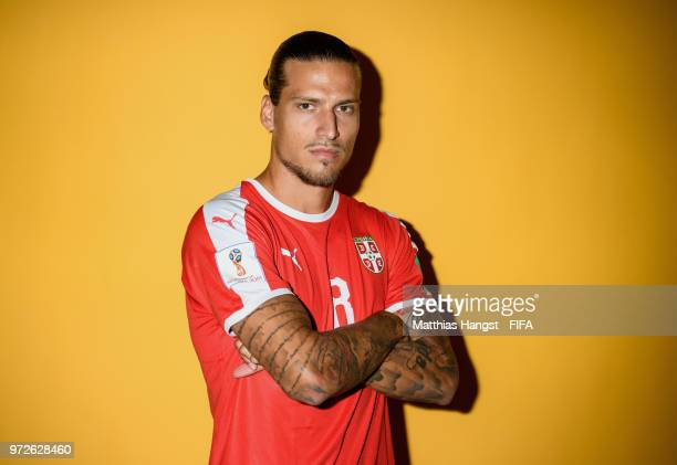 Aleksandar Prijovic of Serbia poses for a portrait during the official FIFA World Cup 2018 portrait session at on June 12 2018 in Kaliningrad Russia