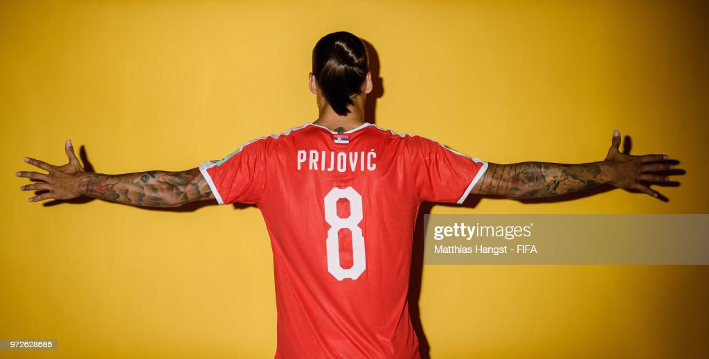 Aleksandar Prijovic of Serbia poses for a portrait during the official FIFA World Cup 2018 portrait session at on June 12, 2018 in Kaliningrad, Russia.