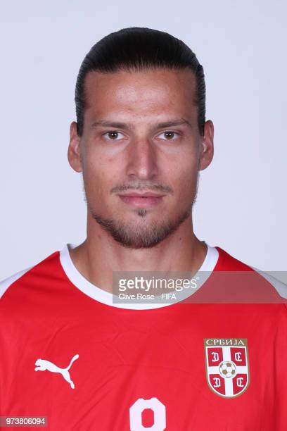 Aleksandar Prijovic of Serbia poses for a portrait during the official FIFA World Cup 2018 portrait session at the Team Hotel on June 12 2018 in...