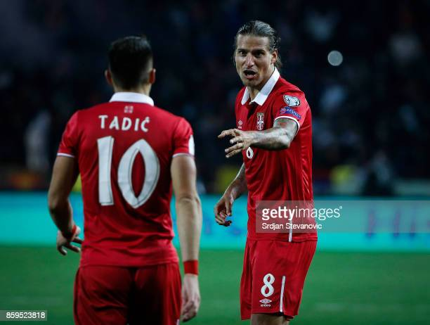 Aleksandar Prijovic talk with the Dusan Tadic of Serbia during the FIFA 2018 World Cup Qualifier between Serbia and Georgia at stadium Rajko Mitic on...