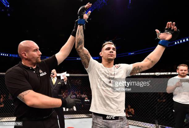 Aleksandar Rakic of Austria celebrates after his victory over Justin Ledet in their light heavyweight bout during the UFC Fight Night at Barclaycard...