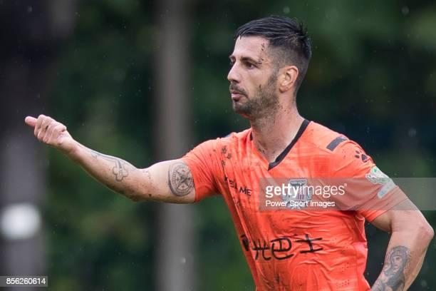 Aleksandar Randelovic of Sun Bus Yeun Long celebrates after scoring his goal during the Hong Kong Premier League Week 4 match between BC Rangers vs...