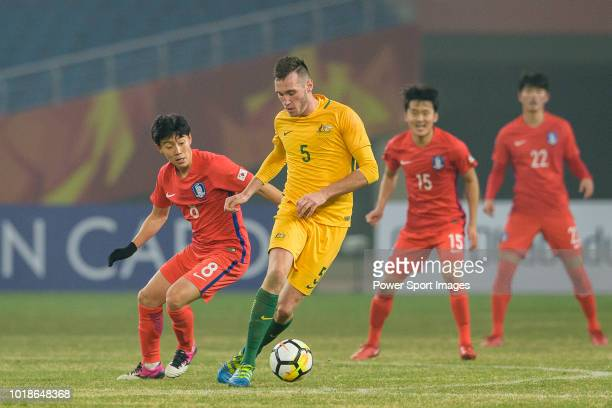 Aleksandar Susnjar of Australia in action against Han Seunggyu of South Korea during the AFC U23 Championship China 2018 Group D match between South...