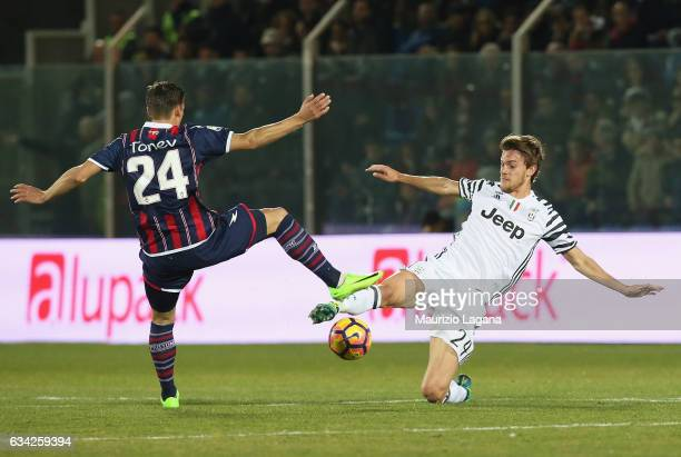 Aleksandar Tonev of Crotone competes for the ball with Daniele Rugani of Juventus during the Serie A match between FC Crotone and Juventus FC at...