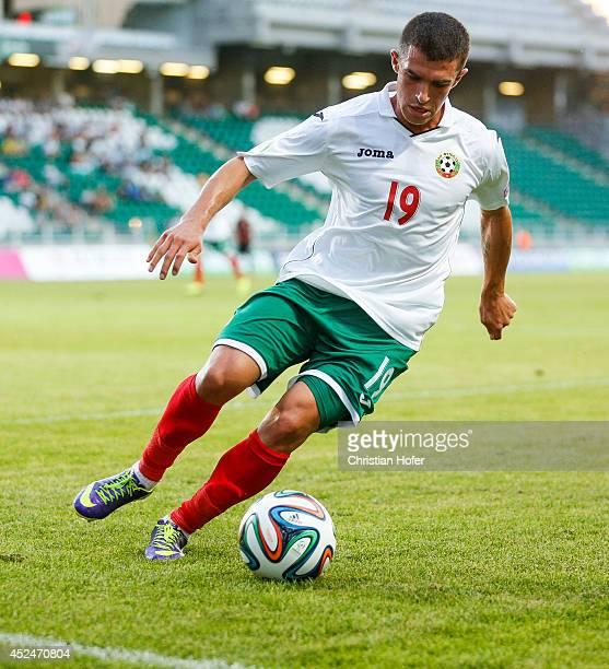 Aleksandar Veselinov Vasilev of Bulgaria controls the ball during the UEFA Under19 European Championship match between U19 Germany and U19 Bulgaria...
