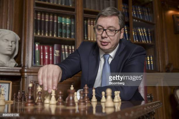 Aleksandar Vucic Serbia's president plays chess during an interview at the presidential office in Belgrade Serbia on Thursday Dec 21 2017...