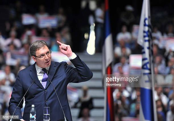 Aleksandar Vucic Serbia's prime minister gestures whilst speaking to supporters during a political rally ahead of Sunday's general election in...