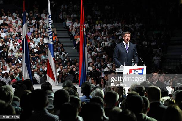 Aleksandar Vucic Serbia's prime minister speaks to supporters during a political rally ahead of Sunday's general election in Belgrade Serbia on...