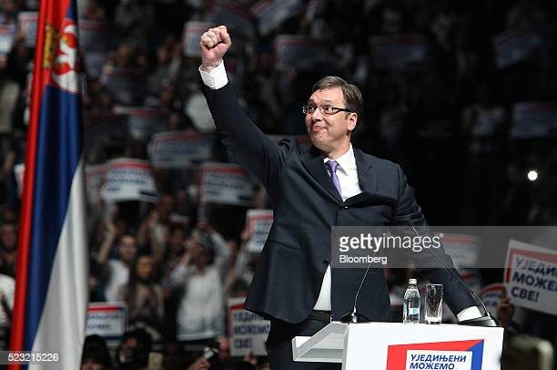 Aleksandar Vucic Serbia's prime minister waves to supporters during a political rally ahead of Sunday's general election in Belgrade Serbia on...
