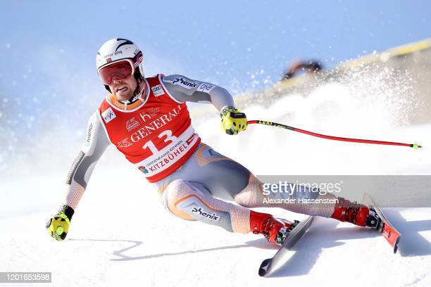 Aleksander Aamodt Kilde of Norway competes at the Hahnenkamm Rennen Audi FIS Alpine Ski World Cup Men's Super G at Streif on January 24, 2020 in...