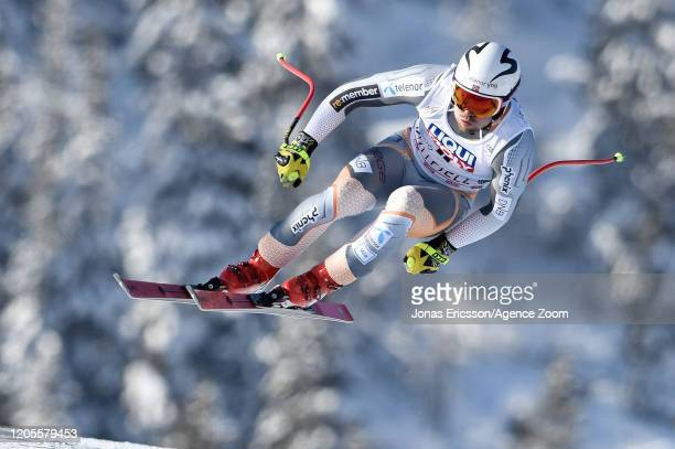 Aleksander Aamodt Kilde of Norway competes during the Audi FIS Alpine Ski World Cup Men's Downhill on March 7, 2020 in Kvitjell Norway.