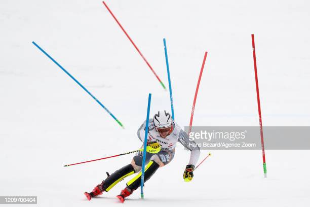 Aleksander Aamodt Kilde of Norway competes during the Audi FIS Alpine Ski World Cup Men's Alpine Combined March 1, 2020 in Hinterstoder Austria.