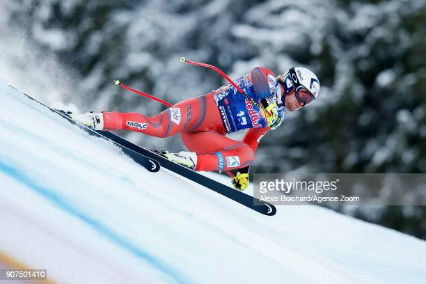 Aleksander Aamodt Kilde of Norway competes during the Audi FIS Alpine Ski World Cup Men's Downhill on January 20 2018 in Kitzbuehel Austria